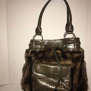 f9c15841d6bd Donna Salyers Fabulous Faux Fur Brown Handbag L
